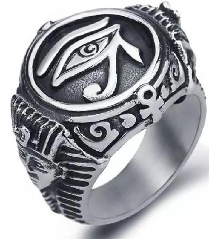 Anel Aço Inox,  Olho Magia Proteção Hórus Illuminati