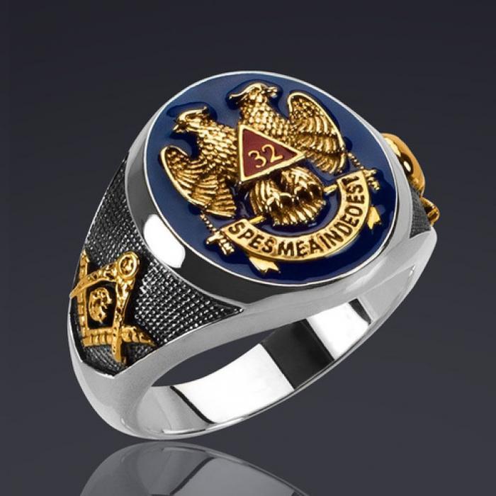 Anel maçônico masculino  prateado e dourado Antigo e aceito Rito escocês 32 Graus  Mestre