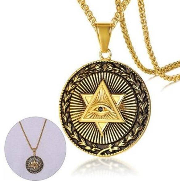 Colar/Pingente Dourado de Aço Inoxidável, Triângulo Olho da Providência Illuminati