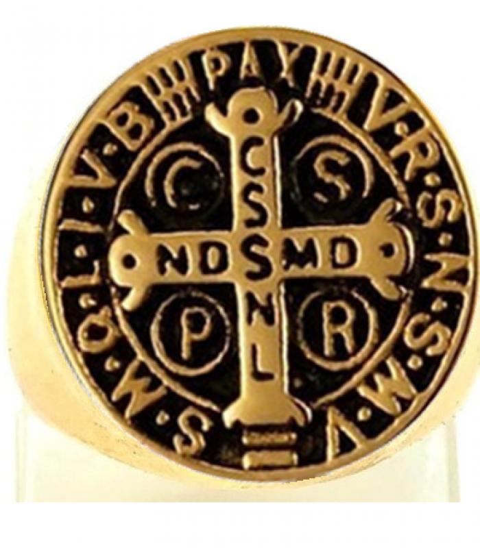 Anel Aço Inox dourado, São Bento Devoto Papa Religião Milagre